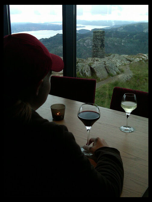 August 3, 2010 - enjoying Ulriken and wine