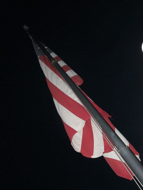 American flag on J&K houseboat