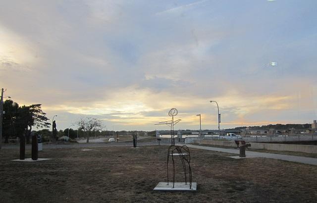 sculptures outside Bridge View Center