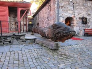 wood sculpture of cod