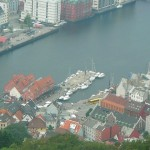 zoom shot view of Bergen Harbor from the top of Fløyen - August 6, 2007