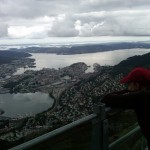 and still another season's visit to Ulriken; my oldest daughter looking down to Bergen - August 3, 2010, 12:07 pm