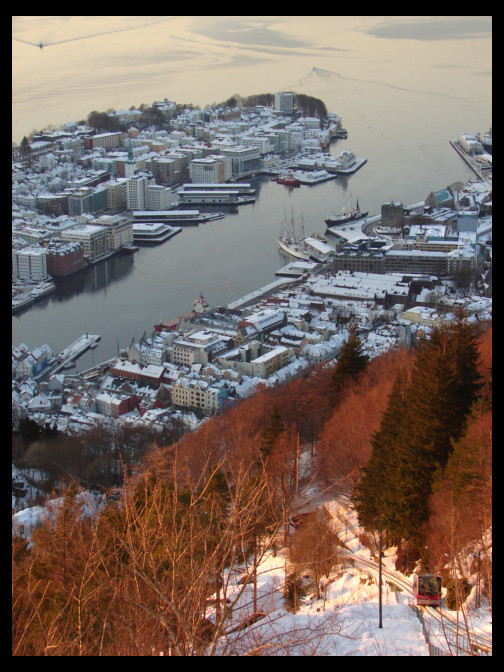 January 14, 2010 - looking at the Bergen Harbor from Fløyen