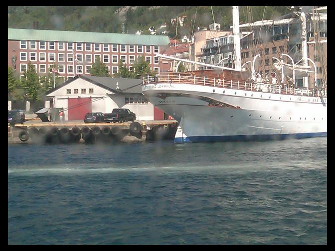 June 6, 2010 - Statsraad Lehmkuhl through a fjord-splashed boat window